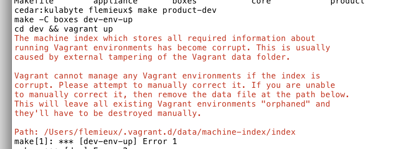 The machine index which stores all required information about running Vagrant environments has become corrupt. This is usually caused by external tampering of the Vagrant data folder. Vagrant cannot manage any Vagrant environments if the index is corrupt. Please attempt to manually correct it. If you are unable to manually correct it, then remove the data file at the path below. This will leave all existing Vagrant environments orphaned and they'll have to be destroyed manually.