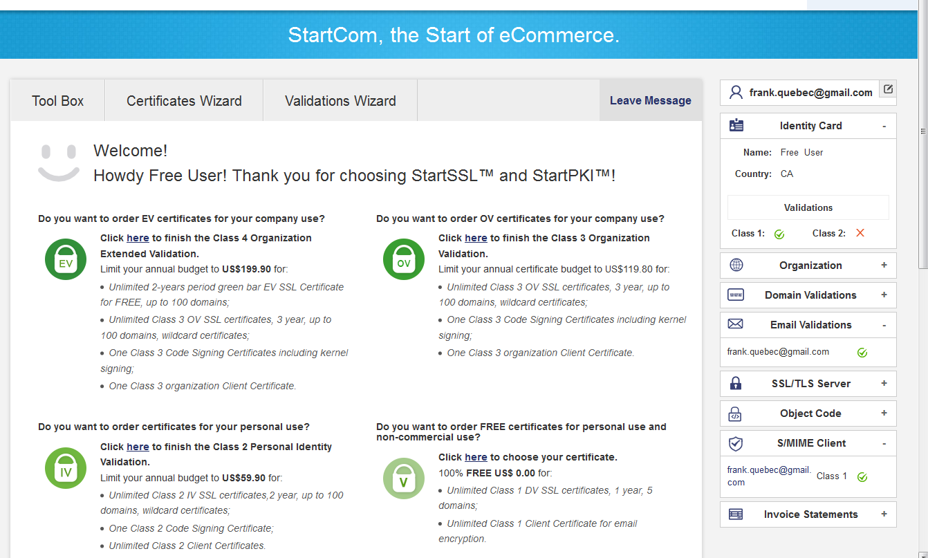 Free ssl certificate from startcom howto generate and install starcom free ssl step3 logged in xflitez Images